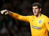 Celtic stopper Fraser Forster in action against Barcelona on November 7, 2012