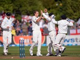 New Zealand players celebrate after Tim Southee takes the wicket of England's Nick Compton on March 6, 2013