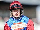 Jockey Robert Thornton after winning the Matalan Anniversary 4-Y-O Juvenile Hurdle on April 12, 2012
