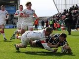 Sale Sharks' Tom Holmes scores the first try of the match against Saracens on March 10, 2013