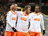 Blackpool's Tom Ince is congratulated after his equaliser against Watford on March 9, 2013