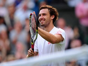 Latvian Ernests Gulbis in action on June 25, 2012