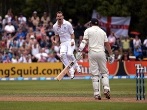 England bowler Jimmy Anderson celebrates taking the wicket of NZ's Peter Fulton on March 7, 2013