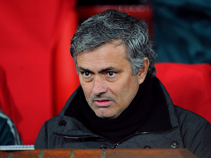 Real Madrid boss Jose Mourinho prior to kick-off against Manchester United in the Champions League on March 5, 2013