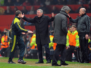 Manchester United boss Sir Alex Ferguson protests after Nani is sent off during the second half against Real Madrid on March 5, 2013