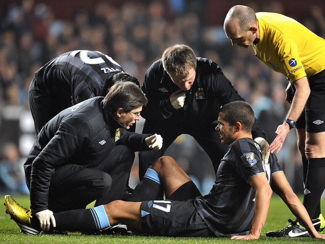 City midfielder Jack Rodwell sits injured, during a game with Aston Villa on March 4, 2013