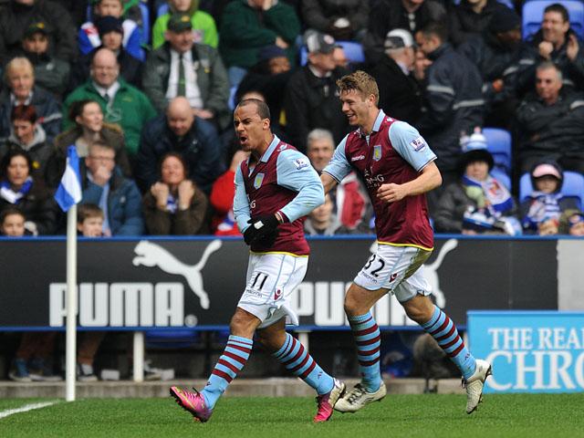 Aston Villa forward Gabriel Agbonlahor celebrates scoring his side's second goal against Reading on March 9, 2013