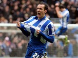 Brighton's David Lopez celebrates scoring his sides second goal in their Championship clash with Crystal Palace on March 17, 2013