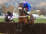 Cue Card being ridden at Cheltenham on March 14, 2013
