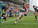 Harlequins' Tom Williams scores a try during the LV=Cup Final on March 17, 2013