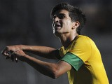 Brazil's Mattheus celebrates after scoring against Ecuador during the U-20 South American soccer championship on January 10, 2013
