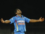 India's Ravindra Jadeja celebrates taking a wicket during a ODI against West Indies on December 11, 2011