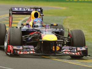 Red Bull driver Sebastian Vettel enters turn two during qualifiying for the Australian Grand Prix on March 17, 2013