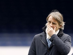 Manchester City manager Roberto Mancini prior to his side's match against Everton on March 16, 2013