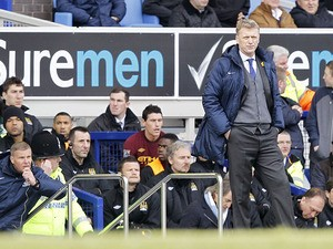 Everton manager David Moyes during his team's match with Manchester City on March 16, 2013