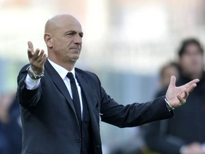 Siena coach Giuseppe Sannino during his side's Seria A match with Cesena on March 11, 2012