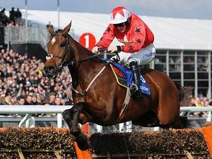 The New One jumps the last fence during Ladies Day at the 2013 Cheltenham Festival on March 13, 2013