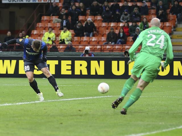 Inter's forward Antonio Cassano opens the scoring against Tottenham on March 14, 2013