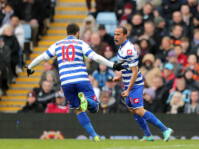 Queens Park Rangers player Andros Townsend celebrates scoring his side's second goal in their match against Aston Villa on March 16, 2013