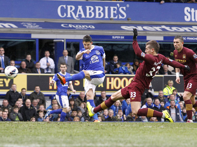 Everton's Kevin Mirallas scores a goal only to see it ruled offside during the Premier League match against Manchester City on March 16, 2013
