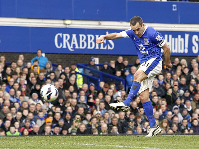 Everton's Leon Osman scores the opening goal in his side's match against Manchester City on March 16, 2013