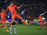 Robin van Persie scores for the Netherlands during their World Cup qualifier with Estonia on March 22, 2013