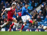 Rangers' Kane Hemmings shoots past the Stirling defence on March 23, 2013