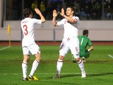 England's Frank Lampard celebrates after scoring against San Marino on March 22, 2013