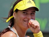 Sorana Cirstea smiles after beating Angelique Kerbe in round three of the Miami Masters on March 24, 2013