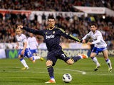 Real's Cristiano Ronaldo scores the equaliser during the match against Real Zaragoza on March 30, 2013