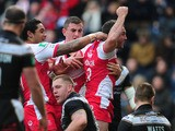 Hull Kingston Rovers' Josh Hodgson celebrates after scoring a try during the Super League with Hull FC on March 29, 2013