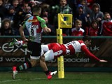 Gloucester's Jonny May scores his team's first try against Harlequins on March 29, 2013
