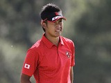 Japanese golfer Hideki Matsuyama reacts after missing a putt on the 18th green at the Masters on April 8, 2012