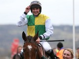 Jockey Liam Treadwell celebrates winning the Byrne Group Plate on March 14, 2013