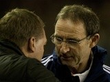 Ex-Sunderland boss Martin O'Neill shakes the hand of Liverpool manager Brendan Rodgers on January 2, 2013