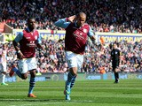 Aston Villa's Gabriel Agbonlahor celebrates scoring against Stoke on April 6, 2013