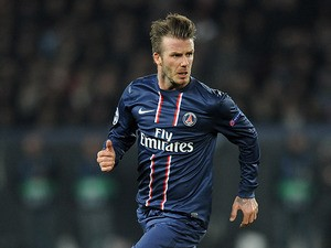 Paris Saint-Germain's David Beckham in action against Barcelona on April 2, 2013