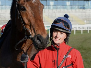 Katie Walsh with her Grand National mount Seabass on April 5, 2013