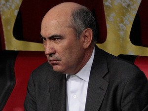 Rubin Kazan boss Kurban Berdyev in the dugout on March 14, 2013