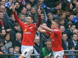 Crewe's Luke Murphy celebrates with team mate Max Clayton after scoring the opening goal against Southend in the Johnstone's Paint Trophy final on April 7, 2013