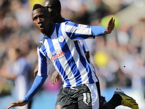 Sheffield Wednesday's Jermaine Johnson celebrates scoring the equaliser against Blackburn Rovers on April 6, 2013