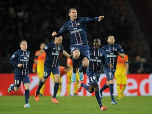 Paris Saint-Germain's Zlatan Ibrahimovic celebrates after scoring the equaliser against Barcelona on April 2, 2013