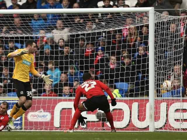Cardiff forward Frazier Campbell celebrates his goal against Blackburn on April 1, 2013