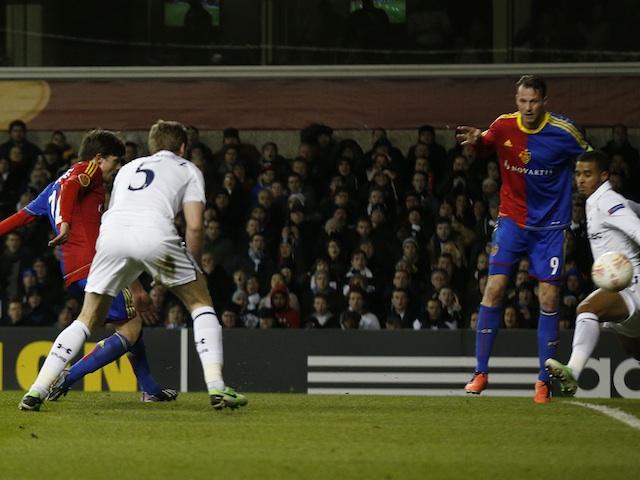 Basel's Valentin Stocker scores against Spurs on April 4, 2013