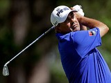 Angel Cabrera watches his tee shot on the fourth during the third round of the Masters on April 13, 2013