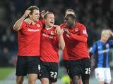 Cardiff's Ben Turner celebrates scoring against Barnsley on April 9, 2013