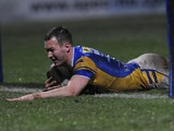 Leeds Rhinos' Danny McGuire scores a try against London Broncos on April 12, 2013