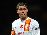 Galatasaray forward Johan Elmander in action on September 19, 2012