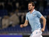 Lazio's Senad Lulic celebrates scoring on February 25, 2013