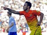 FC Barcelona's Thiago celebrates after scoring against Zaragoza on April 14, 2013